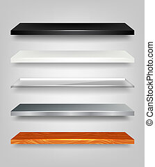 Shelves Set - Set of vector shelves in three different...