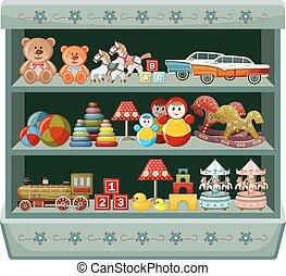 shelves., shop., vendimia, ilustración, vector, juguetes