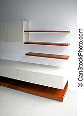 Shelves - New empty wooden shelves in living room