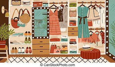 shelves., vêtement, femme, pendre, habillement, placard,...