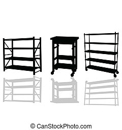 shelves vector illustration silhouettes with shadow on a ...