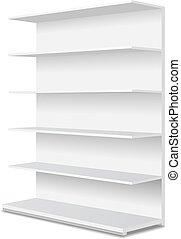 shelves., vitrine, long, affichages, blanc, vente au détail,...