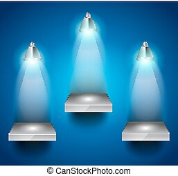 Shelves with 3 LED spotlights with delicate look on a blue...