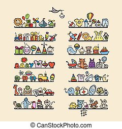 Shelves with baby icons for your design. Vector illustration