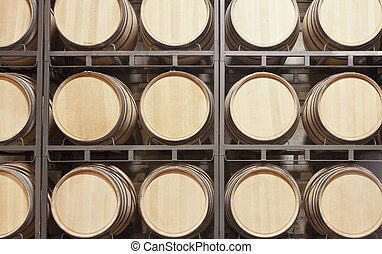 shelves with barrels of wine in a cellar