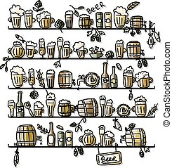 Shelves with beer, sketch for your design