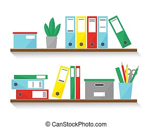 Shelves with books, boxes and folders for office