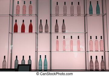 Shelves with bottles of alcohol drinks