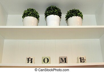 Shelves with boxwood pots and wood