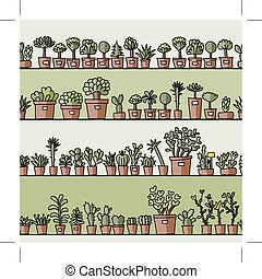 Shelves with cactus in pots, seamless pattern design. Vector...
