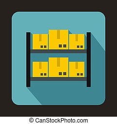 Shelves with cardboard boxes icon, flat style