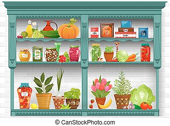 shelves with Fresh produce and herb planted in pottery pots....