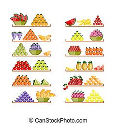 Shelves with fruits for your design