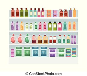 Shelves with household chemicals in the supermarket.