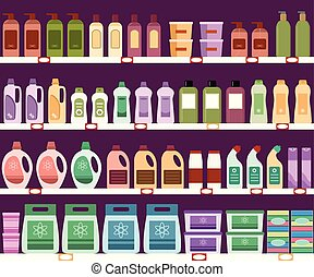 Shelves with household chemicals in the supermarket. Seamless pattern.