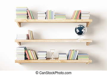 Shelves with items on light wall - Shelves with books and ...