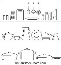 Shelves with kitchenware. Linear.