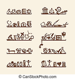 Shelves with medical icons for your design