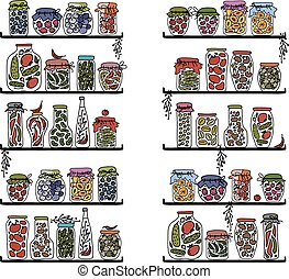 Shelves with pickle jars for your design