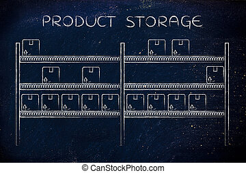 shelves with product boxes, Product Storage