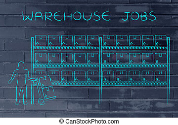 shelves with products and worker with cart, warehouse jobs