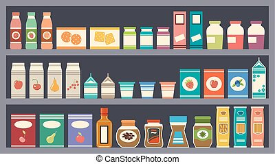 Shelves with products. vector - Grey vector shelves with...