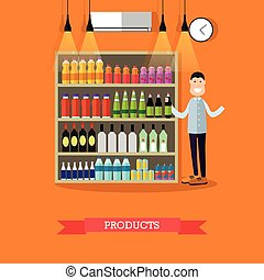 Shelves with products vector illustration in flat style