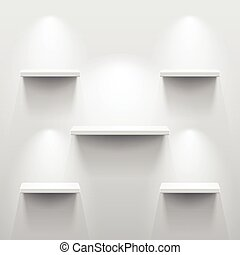 Shelves with shadow in empty white room - Shelves with light...