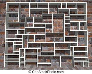 Shelving - Illustration of empty shelving unit against a...
