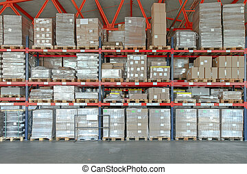 Distribution Warehouse - Shelving System With Boxes in ...
