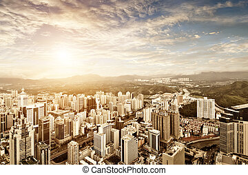 shenzhen - Aerial view of  chinese city at sunset
