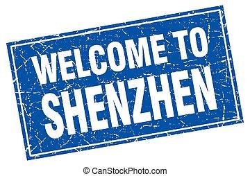 Shenzhen blue square grunge welcome to stamp