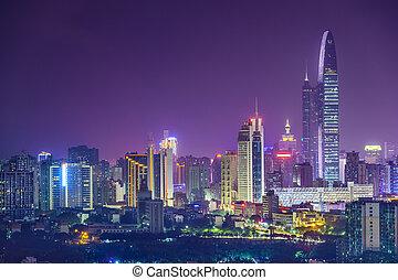 Shenzhen, China city skyline at twilight.