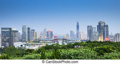 Shenzhen, China City Skyline. - Shenzhen, China civic center...