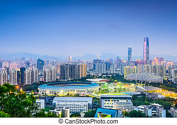 shenzhen, china, distrito financiero, skyline.