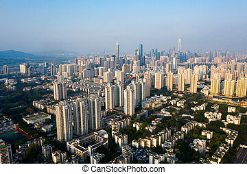 shenzhen city - A drone aerial view of the city