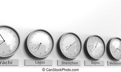 shenzhen, horloge, projection, dans, animation, porcelaine, temps, conceptuel, mondiale, rond, zones., 3d