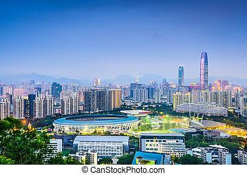 shenzhen, porcelaine, district financier, skyline.