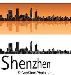 Shenzhen skyline in orange background in editable vector...