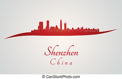 Shenzhen skyline in red and gray background in editable vector file