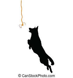 sheperd jump for a bone illustration - sheperd jump for a...