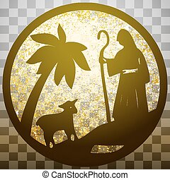 Shepherd and Sheep silhouette icon vector illustration gold...