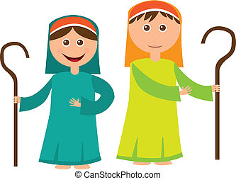 Shepherd boy and girl with sheep isolated over white background. vector