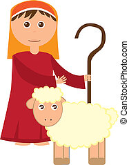 Shepherd boy with sheep isolated over white background. ...