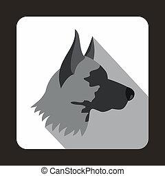Shepherd dog icon, flat style