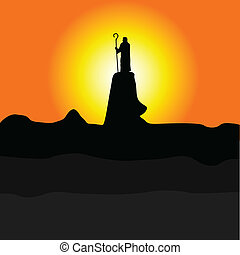 shepherd on the cliff color vector silhouette illustration