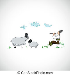 Shepherd plays the flute for sheep. Vector design