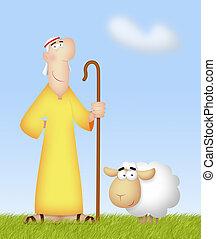 Shepherd With Sheep - Shepherd with his cute sheep.