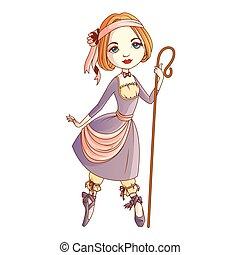 Shepherdess character isolated