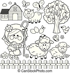 Shepherdess girl and animals at the farm. Vector black and white coloring page